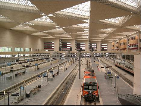Inside Zaragoza train station