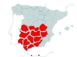 Areas of Spain cultivating Olives