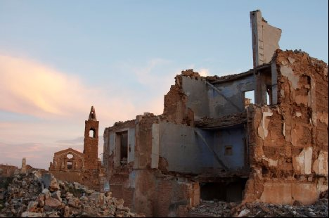 Bombed ruins of Belchite in Aragon Spain