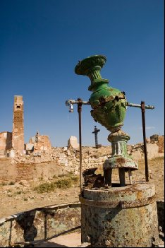 Ruined fountain stands folorn in Belchite